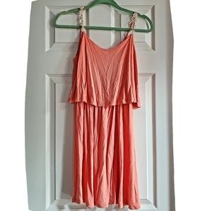 Coral Flower Detail Summer Dress